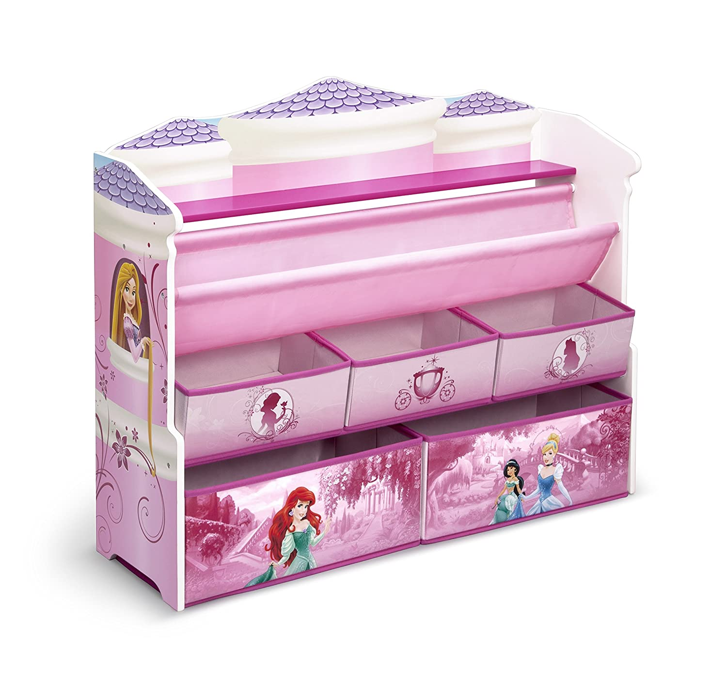 Book Toy Storage Organizer Disney Princess Kids Girls Room Shelf Bins ...