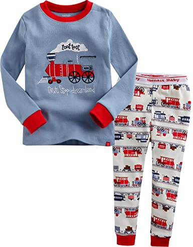 Amazon.com: Vaenait Baby 12M-7T Infant Kids Sleepwear Pajama 2pcs Set Toot Toot Train: Clothing