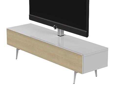 Sonorous STD 361F-WHT-OAK-SL Studio TV-Lowboard fur 177,8 cm (70 Zoll) Fernseher weiß/eiche