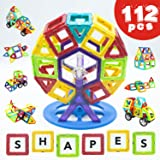 Magnetic Building Blocks 112 Piece - Set by LIVEWELL. Magnet Shapes, Huge 112 Pcs! Educational Toys for Boys & Girls, Toddlers & Up. Creative Toy Uses