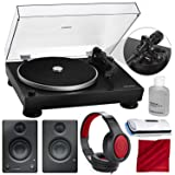 Audio-Technica Consumer AT-LP5 Direct-Drive Turntable (USB & Analog) with PreSonus Eris E3.5 Multimedia Reference Monitors (Pair) and Accessory Bundle (Color: Black)