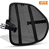 Mesh Lumbar Back Support Cushion - Breathable Fabric, Sturdy Frame, Non Slip Gripper Adjustable Straps Ergonomic Designed For Comfort And Lower Back Pain Relief - Suitable For Desk Office Chair Car (Color: Black)