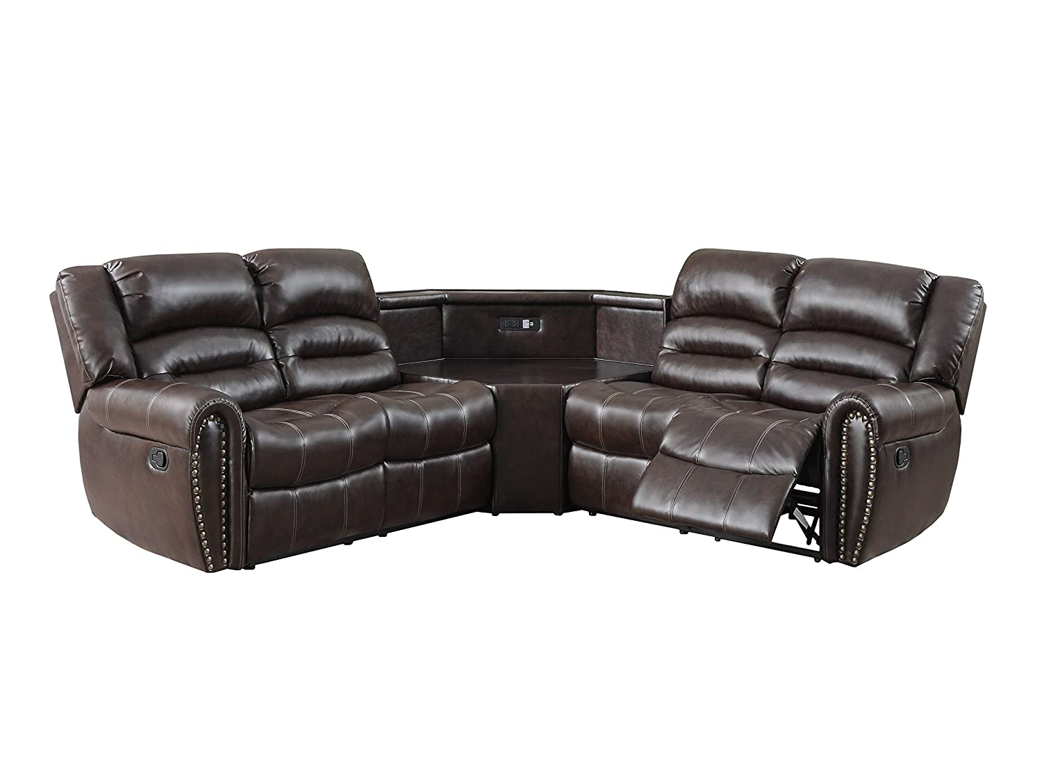 Glory Furniture G685C-SC2 Sectional Sofa with Power Wedge - Cappuccino -  3 boxes