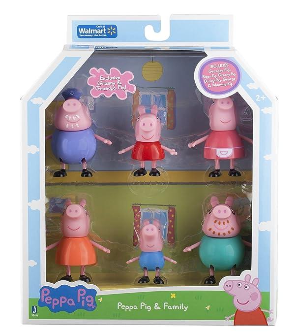 Peppa Pig and Family Figure Grandpa Granny Exclusive Set of 6 (Color: multicolored)