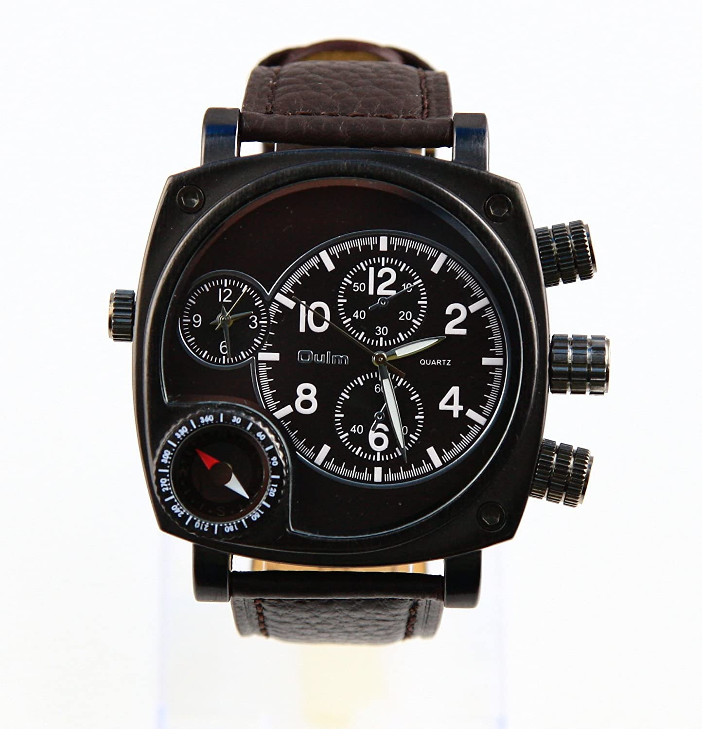 Oulm Luxury Round Dial Watch with Dual Quartz Movement/Compass/ Black dial встраив газовая панель candy cpgc 64 sqpav