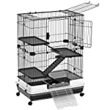 SONGMICS 4-Level Small Animal Pet Cage, Ferret Chinchilla Playpen Hutch with 3 Platforms, 3 Ramps, Leakproof Litter Tray, 3 Doors, and Lockable Wheels, Black UPSC02BK (Color: Black)