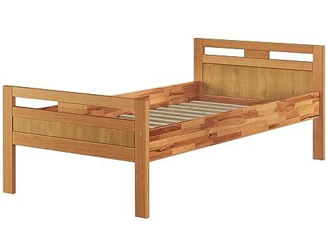 Massivholzbett Seniorenbett Buche natur 90x200 Einzelbett Hohes Bett mit Rollrost 60.74-09