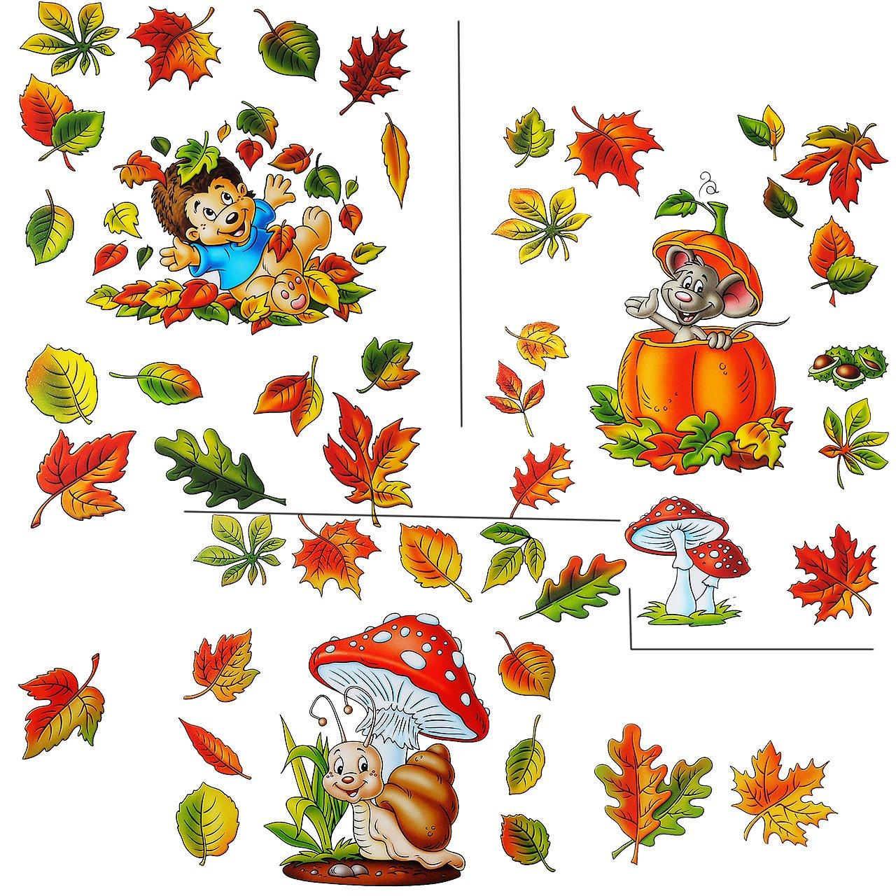 """2 versch. Bögen: Fensterbilder """" lustige Tiere im Herbst """" – Blätter / Igel / Maus / Schnecke – Pilz / Kürbis / Eicheln sammeln – Laubblätter – statisch haftend – selbstklebend + wiederverwendbar / Sticker Fenstersticker Aufkleber – Herbstfrüchte Kastanien Kürbisse – Fensterbild – z.B. für Fenster und Spiegel – Fensterdeko Fensterfolie Kinderzimmer Deko günstig"""