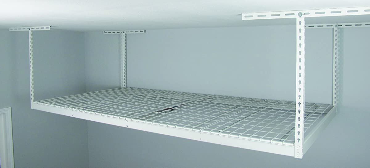 "SafeRacks - 4x8 Overhead Storage Rack Heavy Duty (24-45"" Ceiling Drop) - White"