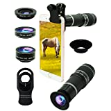 Cell Phone Camera Lens Kit,5 in 1 Lens Kit-High Power 20X Monocular Telephoto Lens, Wide-Angle, Macro, fisheye, Eye mask, Telescope Mobile Zoom Compatible iPhone Samsung Android Smartphones (Color: Multi-Colored, Tamaño: 4.25*1.8*7.4)
