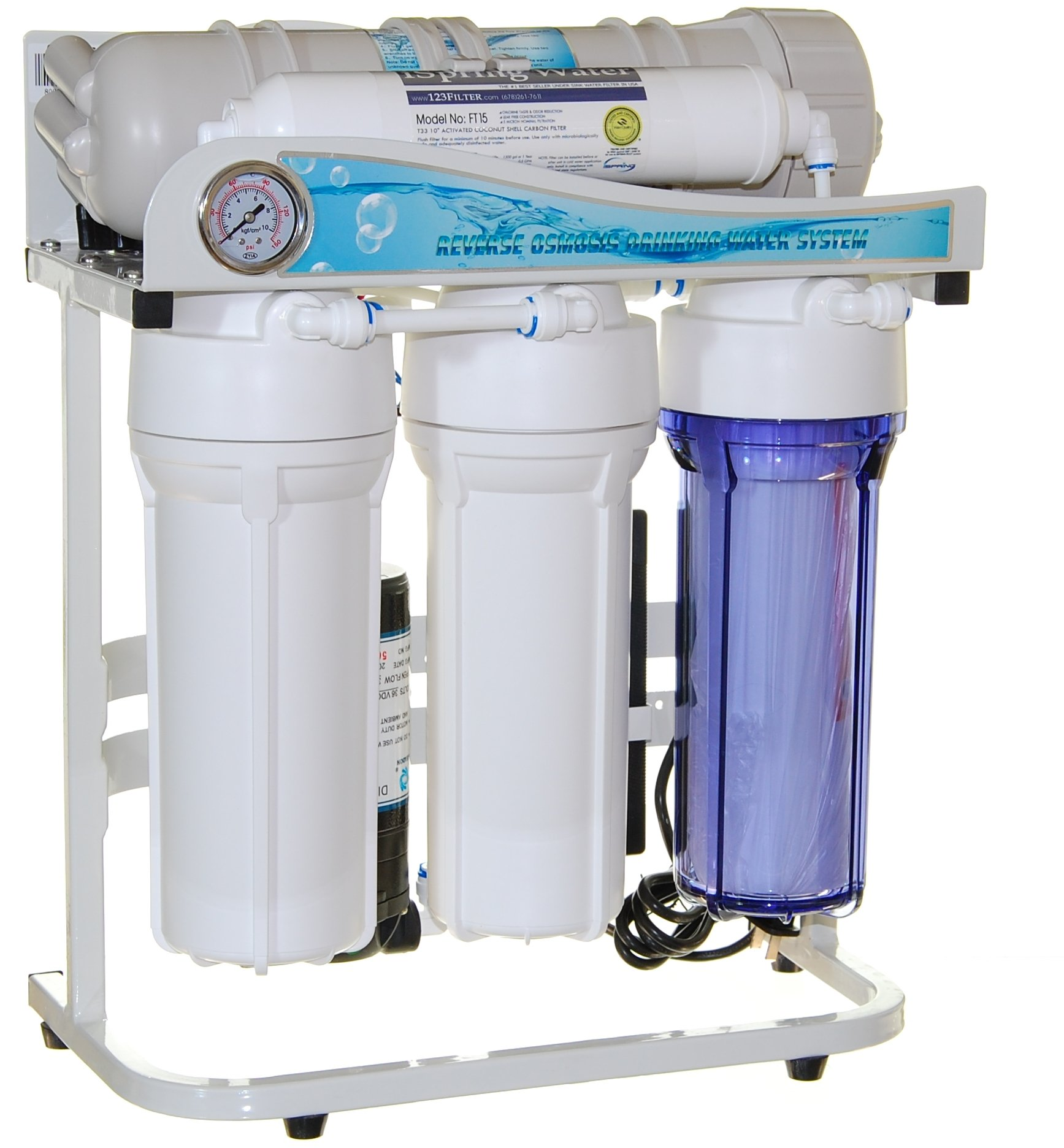 iSpring RCS5T - US Legendary - 500GPD Tankless Pumped Side-Flow Light Commercial 5-Stage Reverse Osmosis Water Filter System - 1:1 Waste Ratio