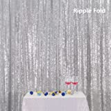 PartyDelight Sequin Backdrop 4FTX6.5Ft Silver for Wedding Curtain, Party, Photo Booth. (Color: Silver, Tamaño: 4X6.5)