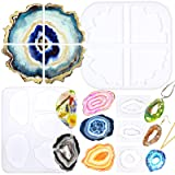 Geode Agate Coaster Silicone Epoxy Resin Molds 11 Shapes Assortment 1.4inch-5.2inch for Polymer Clay Craft Soap Jewelry MakingConcrete Cement (Color: Pack of 5 Molds 11-shape)