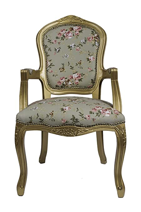 DERRYS Louis Antique Style French Armchair with Floral, Wood, Gold/Green