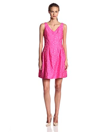 Taylor Dresses Women's Sleeveless V Neck Fit and Flare Dress, Azaela, 2