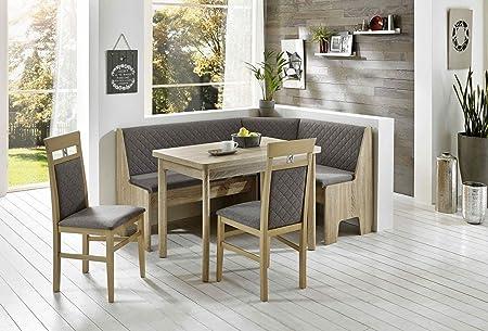 Eckbankgruppe Eiche/ grau-braun mit ausziehbaren Esstisch