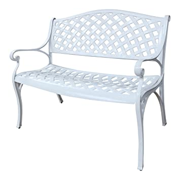 JASMINE Banco de jardín en metal blanco