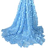 Aisunne African Lace Fabrics 5 Yards Nigerian French Lace Fabric with 3D Flower Fashion Embroidered Beading and Sequin for Wedding Party Dresses (Light Blue) (Color: Light Blue)