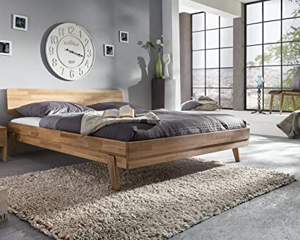 Cama 160 x 200 cm maciza roble natural