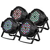 XeeStore Stage Lights Stage Lighting Packages 4PCS 36 X 3W Led Stage Lighting DMX512 for Party DJ Club (Color: Black, Tamaño: 4PCS 36 X 3W)