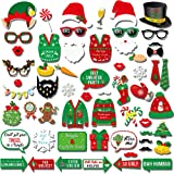 Ugly Christmas Sweater Photo Booth(59Count),Konsait Funny Christmas Photo Booth Stick Funny Xmas Props Selfie Accessories for Adults Kids for Christmas Theme Party Favors Decorations Decor Supplies (Color: Multicolor)