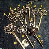 WellieSTR Vintage Skeleton Keys Charm Set Royal Key in Antique Bronze Pack of 12 Keys, 12 Different Style, No Repeat (Color: Bronze)