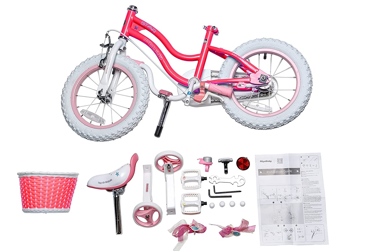 RoyalBaby Stargirl Girl's Bike with Training Wheels and Basket, Perfect Gift for Kids. 12 Inch, 14 Inch, 16 Inch, Blue / Pink 2