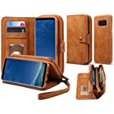 Spaysi, Samsung Galaxy S8 Plus Zipper Wallet Case for Women S8 Plus Detachable Magnetic Wallet Case for Galaxy S8 Plus Card Holder Case Leather Folio Flip Holster Carrying Case for S8 Plus (Brown) (Color: Brown)