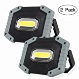OTYTY COB 30W 1500LM LED Work Light 2 Pack, Rechargeable Portable Waterproof LED Flood Lights for Outdoor Camping Hiking Emergency Car Repairing and Job Site Lighting (W841 Grey) (Color: W841-g)