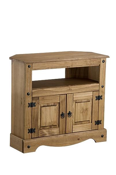 Birlea Corona - Mueble esquinero para televisión (madera de pino encerada)
