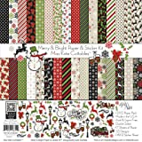 Paper & Sticker Kit - Merry and Bright - for Christmas - 17 Double-Sided 12x12 Papers with 33 Designs & 1 8X12 Sticker Sheet - Scrapbooking Card Making Crafting - by Miss Kate Cuttables (Tamaño: 12-x-12-Inch)
