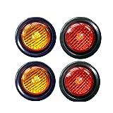 Paquete de 4 luces LED de 2 pulgadas con forma redonda, funcionan como luz de marcador lateral para camión, trailer, remolque. Kit de luz LED y arandela. 2 ámbar y 2 rojas.