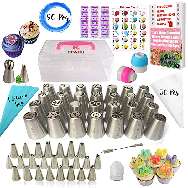 RFAQK- 90 Pcs Russian piping tips set with storage case - Cake decorating supplies kit - 54 Numbered easy to use icing nozzles (28 Russian + 25 Icing + 1 Ball tip) - Pattern chart, Ebook User Guide (Color: Silver, Tamaño: 90 PCS)