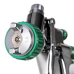CARTMAN HVLP Gravity Feed Air Spray Gun 20.2 oz Capacity, 3.0-4.0 CFM (Cubic feet per Minute), Optimal Working Pressure 2bar/29psi, Nozzle Size:1.3mm with Air Regulator (Tamaño: 1.3 S/Steel Acc. w Regu.)