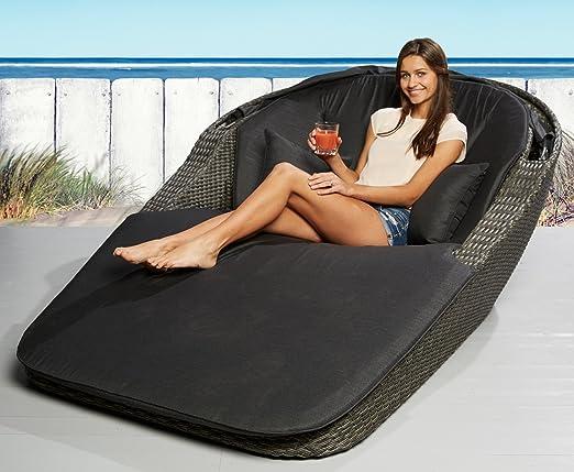 Tumbona doble con ruedas Love Bed sol cama tumbonas de jardín sol Isla playa cesta de mimbre conchas