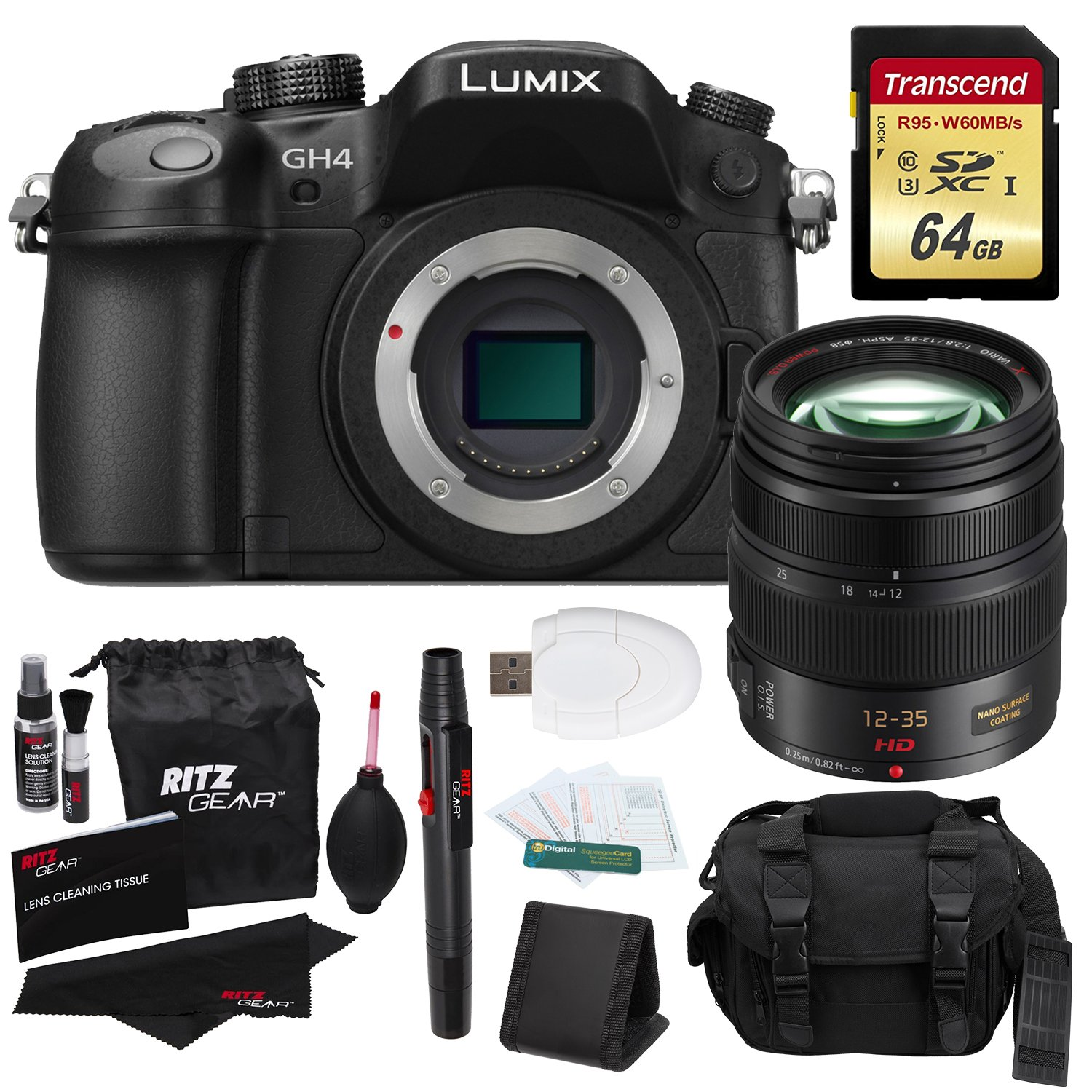 Panasonic LUMIX DMC-GH4KBODY 16.05MP Digital Single Lens Mirrorless Camera with 4K Cinematic Video (Body) with Panasonic H-HS12035 LUMIX G X VARIO 12-35mm/F2.8 ASPH X Series Zoom Lens  ..