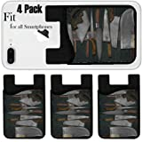 Liili Phone Card holder sleeve/wallet for iPhone Samsung Android and all smartphones with removable microfiber screen cleaner Silicone card Caddy(4 Pack) IMAGE ID 33530619 vintage set of knives on th (Color: 4367)