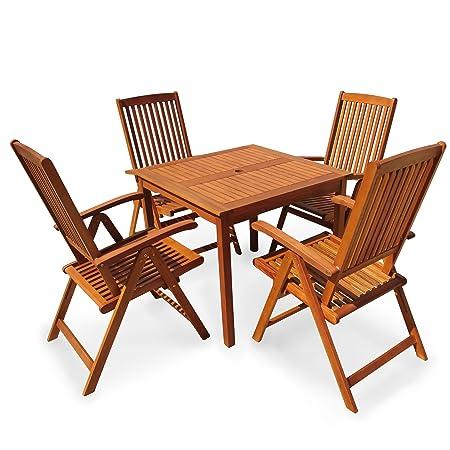 indoba® IND-70299-SSSE5Q - Serie Sun Shine - Gartenmöbel Set 5-teilig aus Holz FSC zertifiziert - 4 Gartenstuhle verstellbar und klappbar + quadratischer Gartentisch mit Schirmöffnung