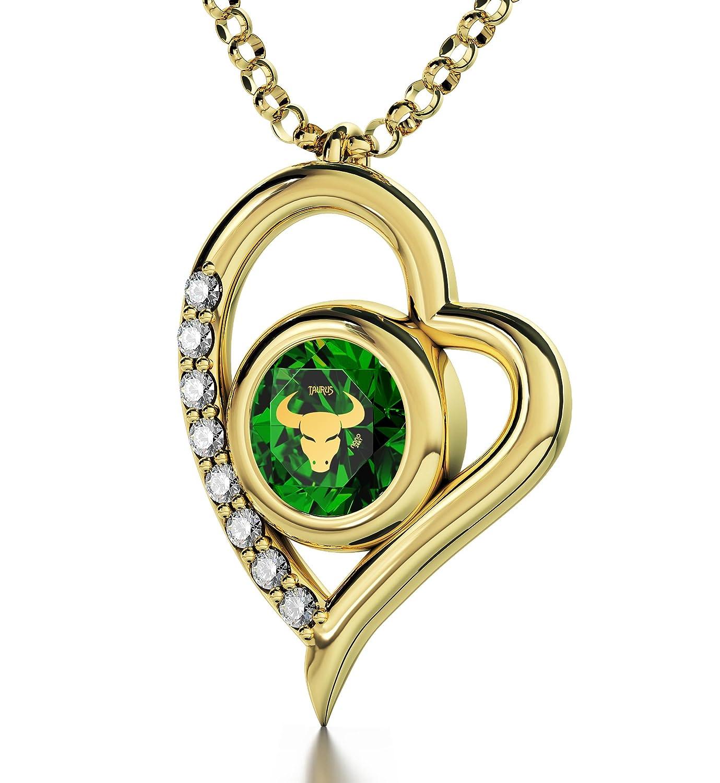 Vergoldete Zodiac-Halskette - Stier-Schmuck - Herz-Anhänger mit Astrozeichen-Beschriftung in 24k Gold auf kristallenem Zirkonia-Edelstein- Einzigartige Geburtstagsgeschenke