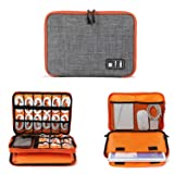 Electronics Organizer, Jelly Comb Electronic Accessories Cable Organizer Bag Waterproof Travel Cable Storage Bag for Charging Cable, Cellphone, iPad (Up to 11'' and More-Large(Orange and Gray) (Color: Orange and Gray, Tamaño: Large)