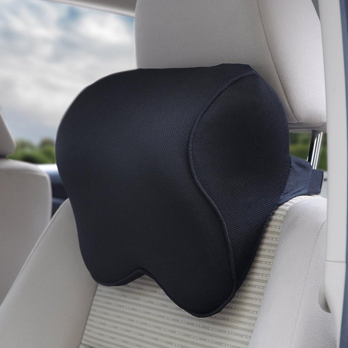 Dreamer Car Mid-hard Memory Foam Car Seat Head Pillow Neck Pillow With Adjustable Elastic Strap(Black)