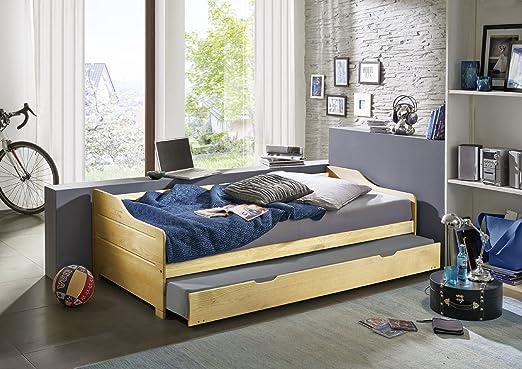SAM® Holzbett Paula 90 x 200 cm aus massivem Kiefernholz in natur lackierte Oberfläche mit Ausziehbett Auslieferung mit einem Paketdienst zerlegt
