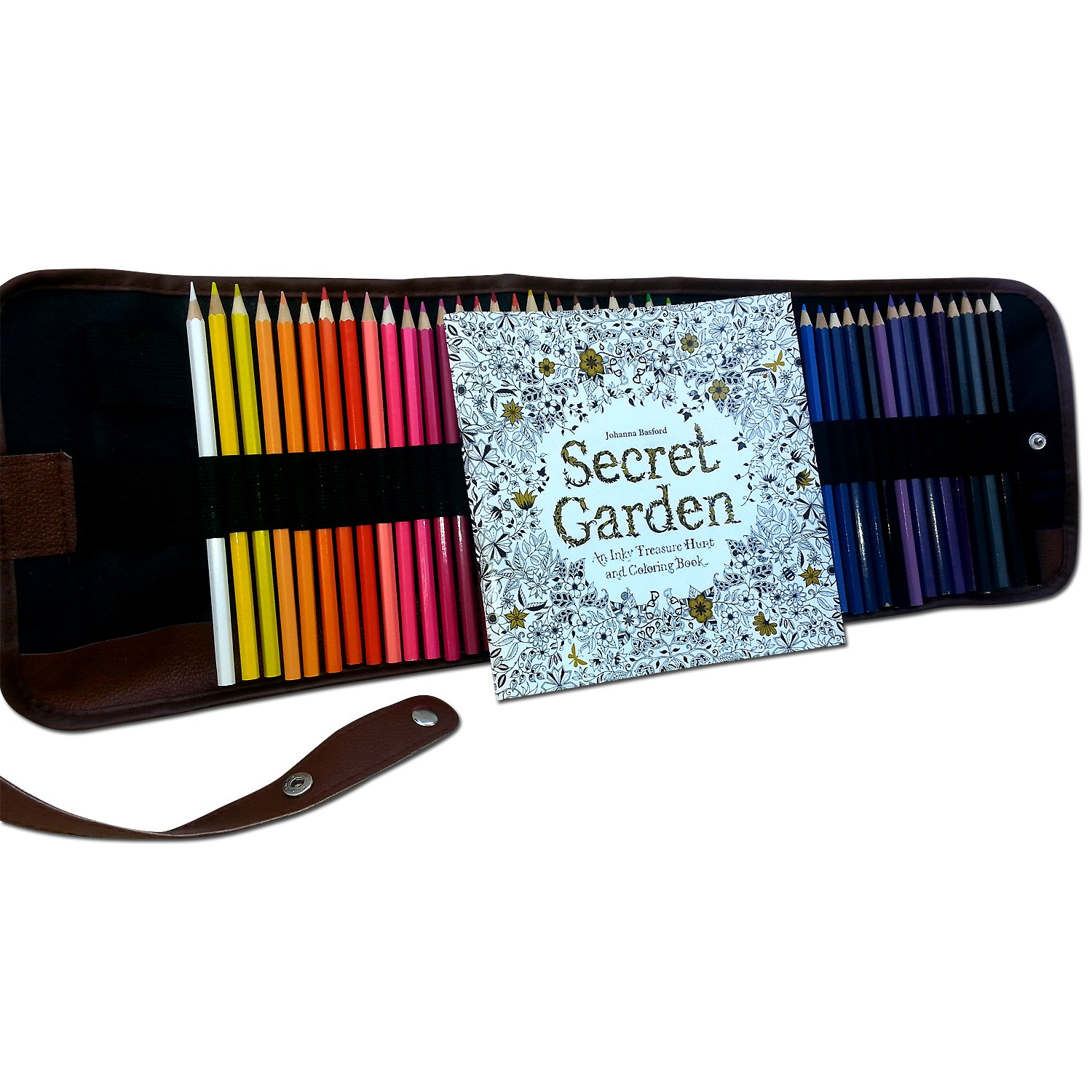 "48 Premium Art Colored Pencils Supplies with Roll UP Washable Canvas Pencil Bag: Enhance your creativity with this adult coloring book ""secret garden"" free gift"