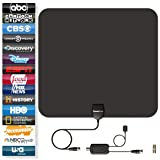 TV Antenna (80 Mile Range) PowerBear 4K TV Antenna (Full HDTV Support – 4k, 1080P, 1080i, 720P) TV Antenna Indoors Signal Booster – Free TV Channels, 16FT Coaxial Cable [24 Month Warranty]