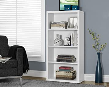"White Hollow-Core 48""H Bookcase/adjustable Shelves"