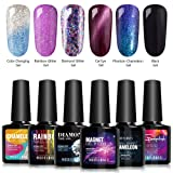 Modelones Soak Off UV LED Gel Nail Polish Set - 6 Color Collection Cat Eyes Color Changing Glitter Gel Phantom Chameleon and Black Gel 0.33 OZ (Color: 6 Colors Collection Gel)