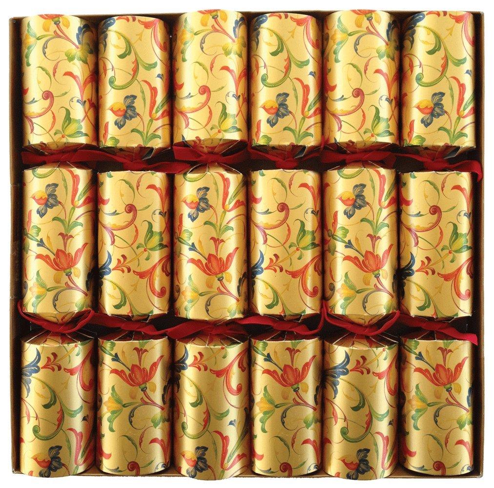 Caspari CK025.12 - Caja de 6 Christmas Cracker (cilindro de cartón con corona de lámina dorada, hoja con chiste y una baratija de metal), diseño renacentista   Comentarios de clientes y más noticias