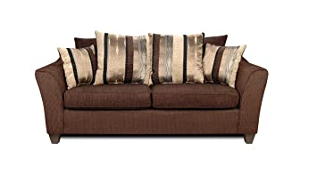 Chelsea Home Furniture Lizzy Sofa, Upholstered in Romance Brown/Kendu Onyx