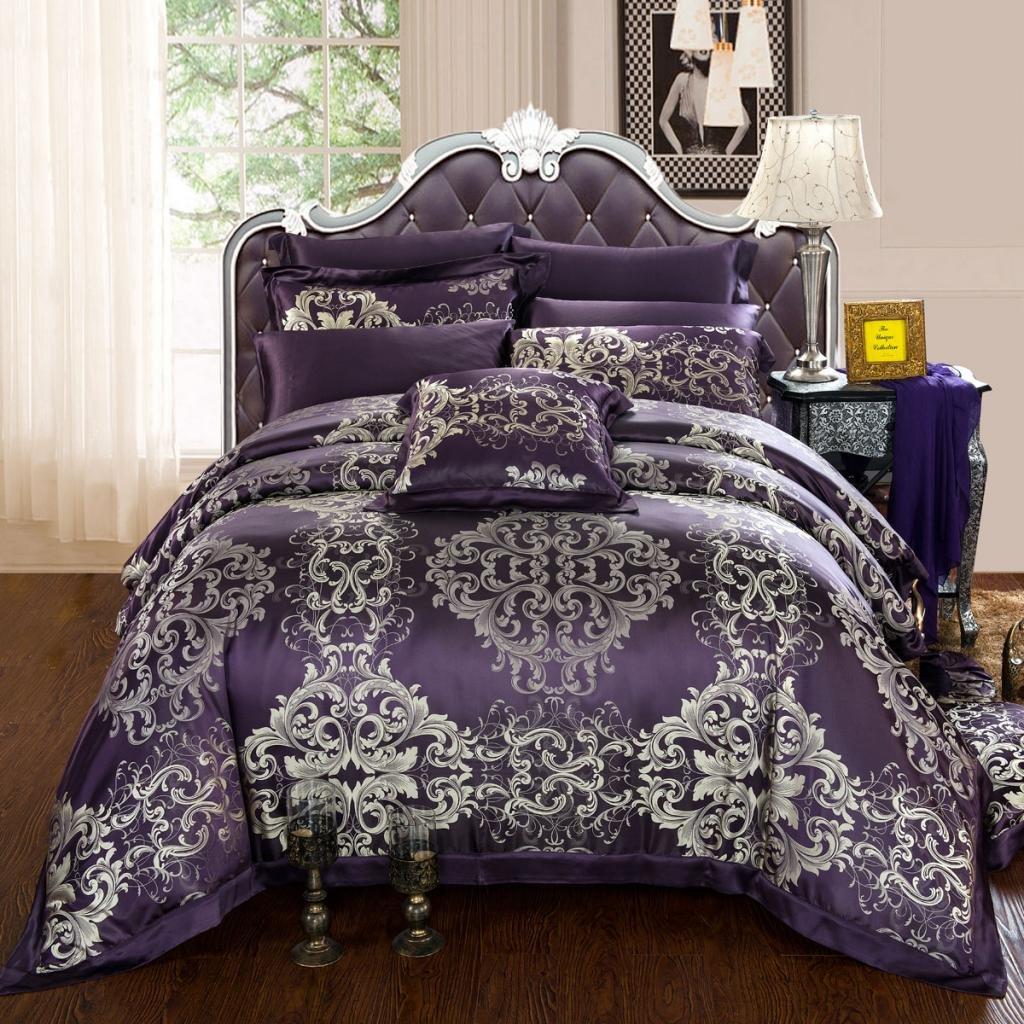 Orifashion Luxury 5-Piece Retro Dark Purple 100% Silk Yarn-dyed Jacquard And Charmeuse Bedding Set, California King Size