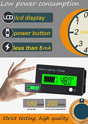 Multifunctional Battery Capacity Monitor 48V LCD Battery Fuel Gauge Indicator Meter for Lead-Acid Battery Motorcycle Golf Cart Car, Green (Color: Multifunction-Green)